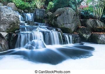 orientalisk, vattenfall, landskap
