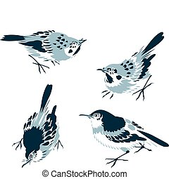 orientalny, ptak, ilustracja, klasyk