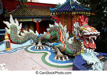 orientalny, stary, świątynia, dach, smok