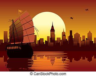 orientalny, zachód słońca