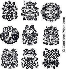 orientalsk, emblem, flourish