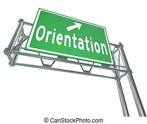 orientamento, recluta, segno, superstrada, verde, studente, impiegato, nuovo