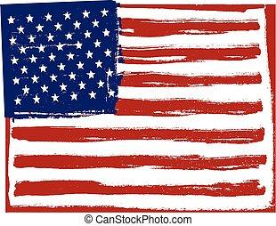 orientation., バックグラウンド。, 横, 旗, アメリカ人