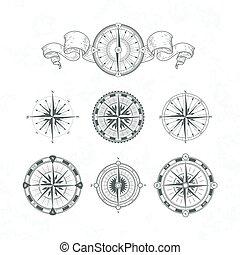 Orientation antique compas in vintage style. Vector monochrome illustrations set