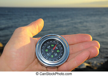 Orientation Concept a Male Hand Holding a Metal Compass