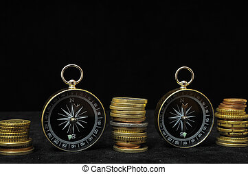 Orientation in Business Compass and Money on a Black ...