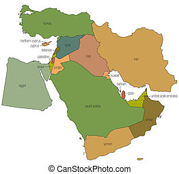oriente médio, mapa, 1