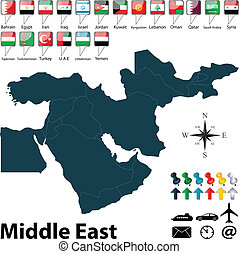 oriente médio, político, mapa