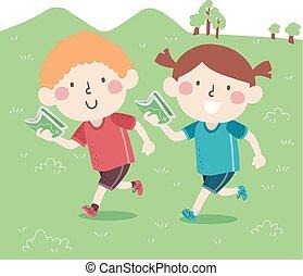 orienteering, gosses, suède, illustration