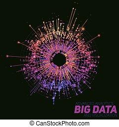 orientować się sieć, visualization., handlowy, barwny, cielna, abstrakcyjny, infographics, complexity., okrągły, analytics, wzrokowy, wektor, nitki, towarzyski, zawiły, reprezentacja, dane, graphic., futurystyczny, design.