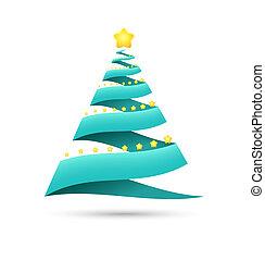 origami, árvore, natal