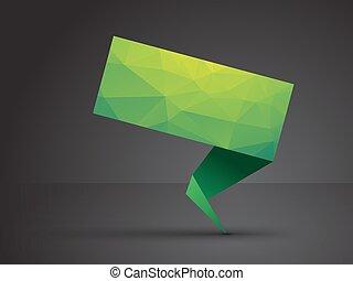 origami, étiquette, vert