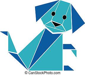 origami, スタイル, シルエット, 犬, vec