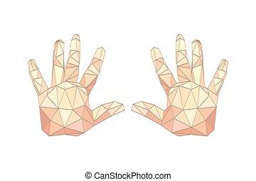 origami, 平ら, やし, イラスト, 手