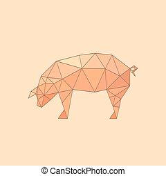 origami, 平ら, イラスト, 豚