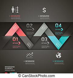 origami, 抽象的, 矢, infographics