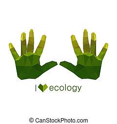 origami, 生態学的, 緑, イラスト, 手
