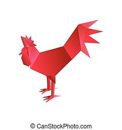 origami, 赤, おんどり