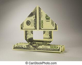origami, 钱, 家