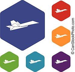 origami, 飛行機, ベクトル, hexahedron, アイコン