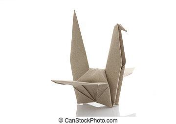 origami, 鳥, によって, リサイクルしなさい, papercraft
