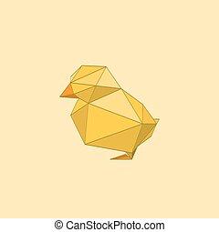origami, 鶏, イラスト, 平ら