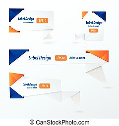 Origami 2 color style label set, blue and orange color