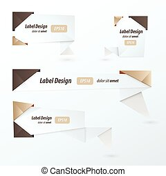 Origami 2 color style label set, chocolate color style