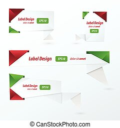 Origami 2 color style label set, Christmas style