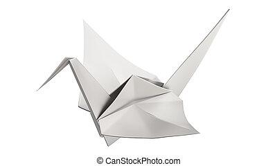 origami, 3, fugl, illustration, sølv