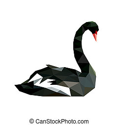 origami, abstrakt, svan, svart, illustration