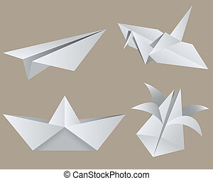 Origami: aircraft, crane, boat, tulip. Isolated. EPS 8, AI, ...