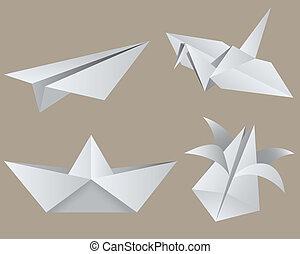 Origami: aircraft, crane, boat, tulip. Isolated. EPS 8, AI, JPEG