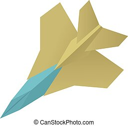 Origami aircraft icon, cartoon style