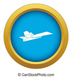 Origami airplane icon blue isolated