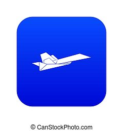 Origami airplane icon blue