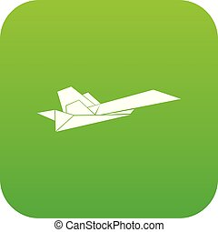 Origami airplane icon green vector