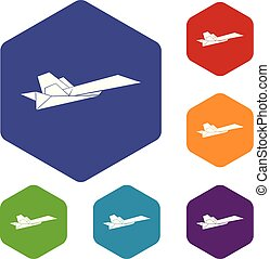 Origami airplane icons vector hexahedron