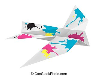 Origami airplane with print colors.