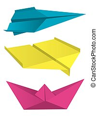 Origami airplanes boat