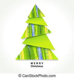 origami, albero, natale
