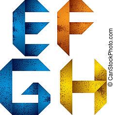 Origami alphabet letters E F G H.