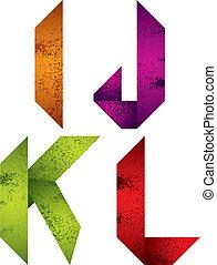 Origami alphabet letters I J K L.