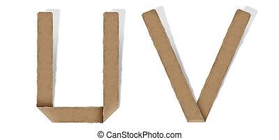 origami alphabet U V