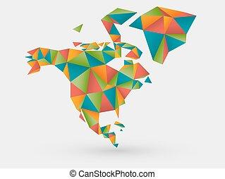 origami, américa, norte, mapa