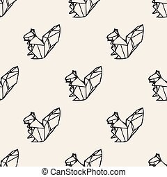 origami, ardilla, seamless, pauta fondo