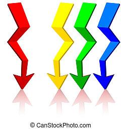 Origami arrow,  vector illustration.