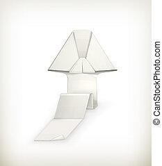 Origami arrow, vector