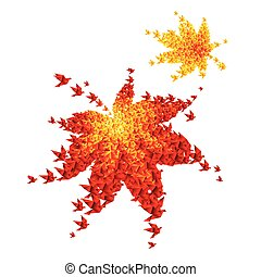 origami autumn leaves - vector flying birds
