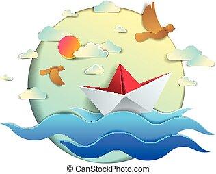 origami, avis, skib, stykke legetøj, svømning, ind, ocean vinker, smukke, vektor, illustration, i, landskabelig, seascape, hos, legetøj båd, flyde, ind, den, hav, og, fugle, ind, den, sky., vand, rejse, sommer, holidays.